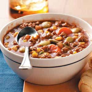 Beef Vegetable Soup Recipe from Taste of Home :: shared by D.M. Hillock of Hartford, Michigan :: http://pinterest.com/taste_of_home/