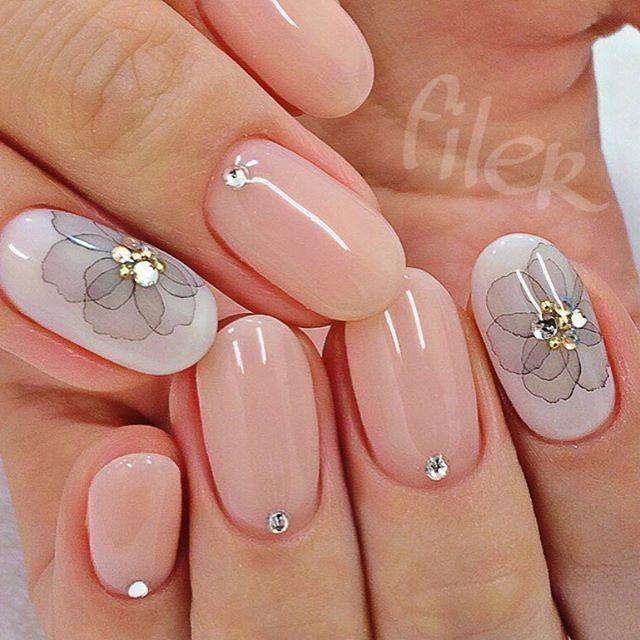 beautiful pale floral nail design