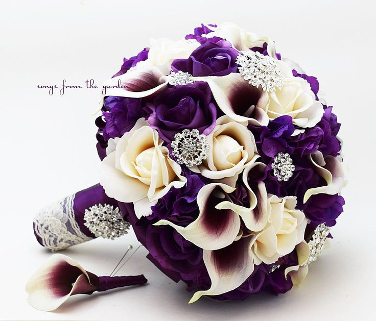 Bridal Bouquet Real Touch Picasso Callas Purple Lavender Ivory Roses Rhinestones & Purple Hydrangea with Groom's Boutonniere