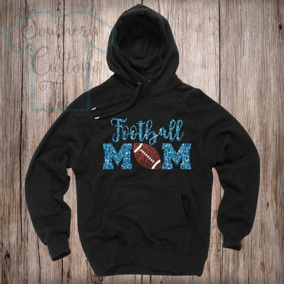 Glitter Football Mom Hoodie Football Mom by SouthernCustomTees