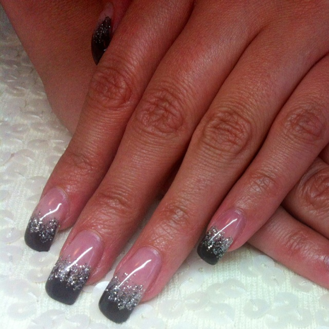 black with silver ombr233 gel nails nail art pinterest