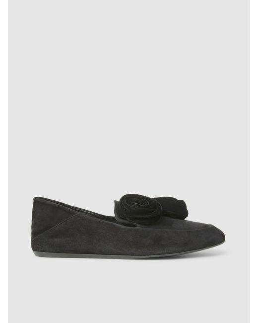 dd7e31e720cf Lanvin - Black Floral Appliquéd Suede Loafers - Lyst