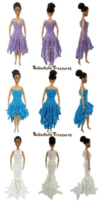 New high-low's and fishtail dresses from: http://www.rebeckahstreasures.com/free-pdf-crochet-patterns.html