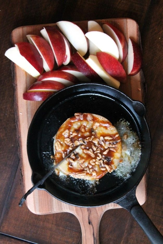 Baked Brie Glazed with pumpkin butter and walnuts