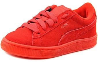 Puma Classic Iced Jr. Youth Round Toe Suede Red Sneakers.