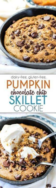 This Pumpkin Chocola This Pumpkin Chocolate Chip Skillet Cookie...  This Pumpkin Chocola This Pumpkin Chocolate Chip Skillet Cookie is perfect for when youre craving dessert but dont want to make an entire batch of cookies. Dairy-free gluten-free friendly and tastes amazing! Recipe : http://ift.tt/1hGiZgA And @ItsNutella  http://ift.tt/2v8iUYW