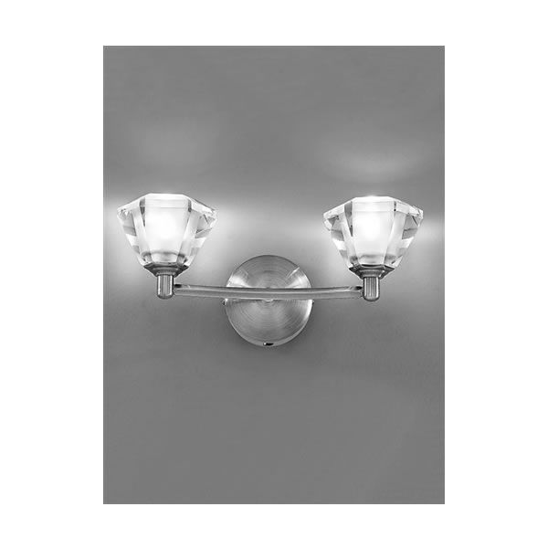 Franklite twista 2 light wall light satin nickel lighting manufacturersdecorative