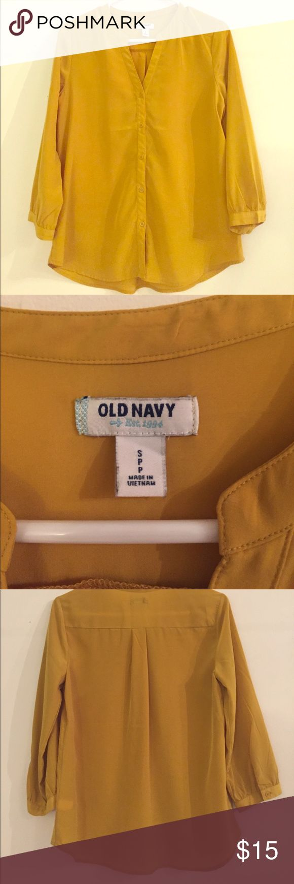 Old Navu blouse (size S) Great staple piece! 3/4 sleeve Old Navy blouse. Color Mustard or Chartreuse. Old Navy Tops Blouses