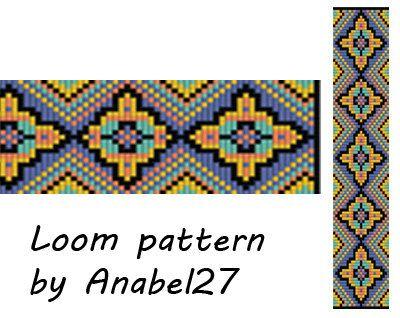 Loom bead pattern - Square stitch pattern - ethnic style - bracelet pattern - beaded pattern #63 por ColorfulBeadPatterns