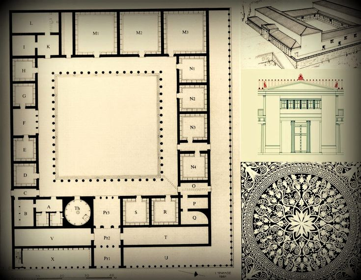 Plan of the palace at Aigai, second half of 4th century BCE, Vergina. ancient Greek kingdom of Macedonia, northern Greece