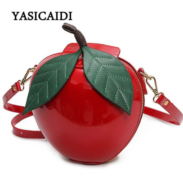Good Deal $15.28, Buy Women Crossbody Bags Famous Brand Red Circular Apple Bag Fashion Female Messenger Bags Leaves Mini Bags for Teenager Girls