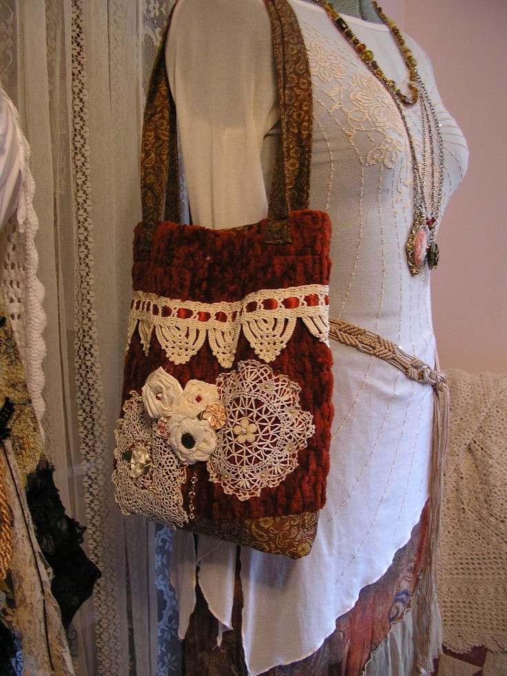 Victorian Doily Purse, pearls, vintage doilies, fabric flowers, handmade fabric bag. $80.00, via Etsy.