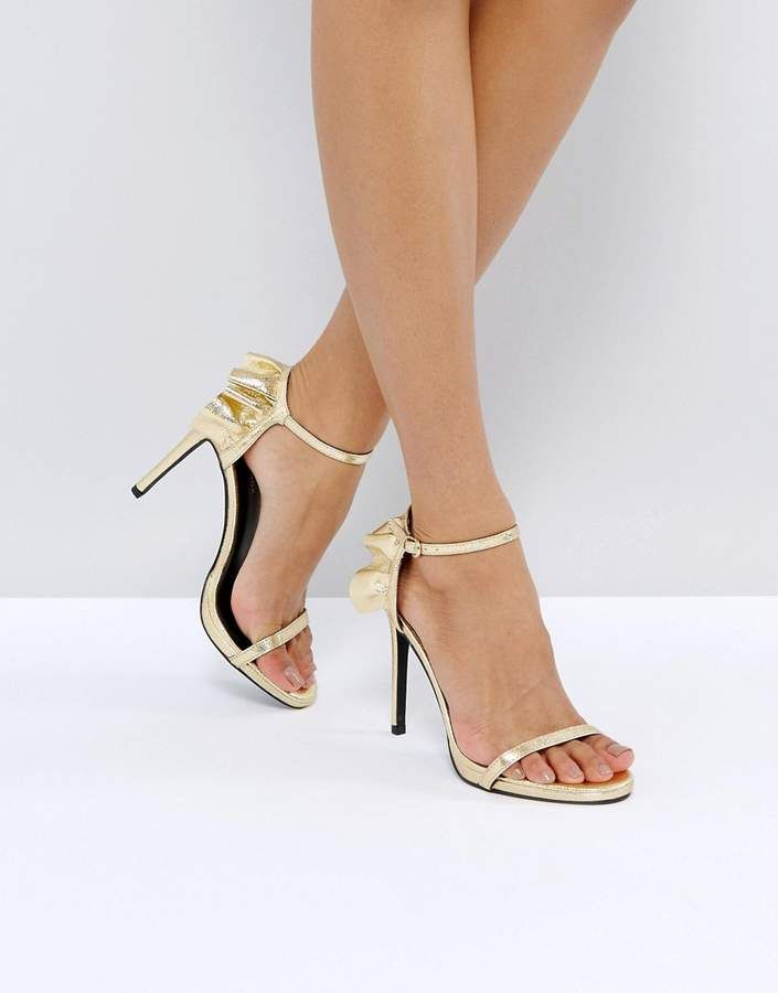 4c150fc22601 New Look Frill Back Two Part Heeled Sandals - Gold high heels at ASOS