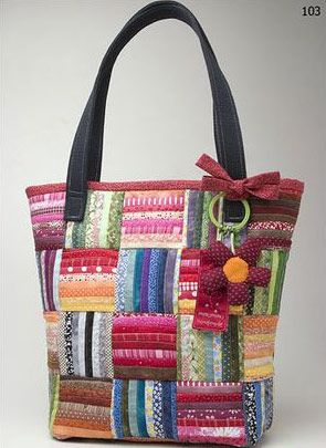 Patchwork bolsa colorida com flor