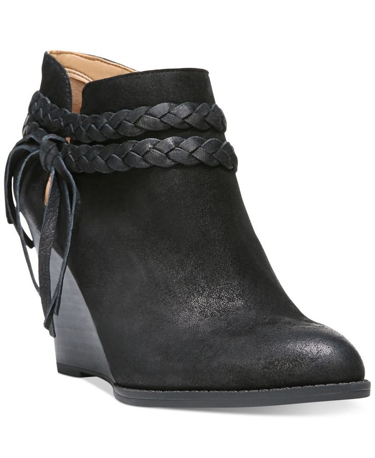 Franco Sarto Loni Braided-Strap Wedge Booties