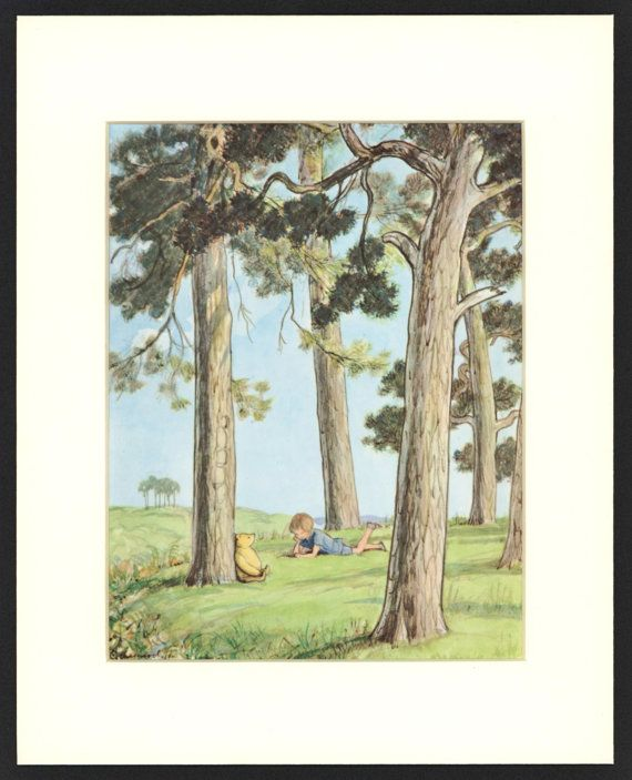 Classic Winnie the Pooh, Nursery Wall Hanging, Baby Gift  (Vintage Kids Wall Art) Resting in a Forest