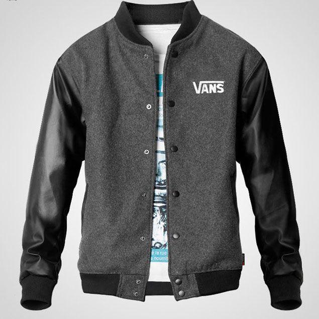 Vans Men PU Leather Sleeves Varsity Jacket Grey Black [Vans Men PU Leather Sleeves Jacket] - $75.00 : letterman jackets cheap