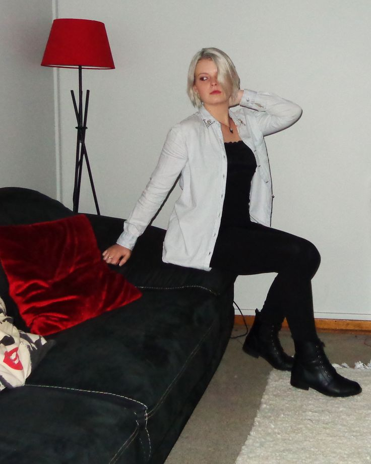 tights with a cotton and lace shirt, a blue unbuttoned shirt and ankle boots from the blog www.mainstreetfashion.co.za