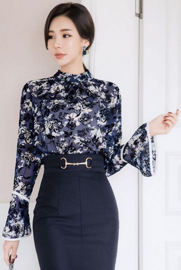 StyleOnme_Deep Blue Floral Print Bell Sleeve Blouse #elegant #bellsleeve #blouse #falltrend #koreanfashion #kstyle #kfashion #seoul #feminine