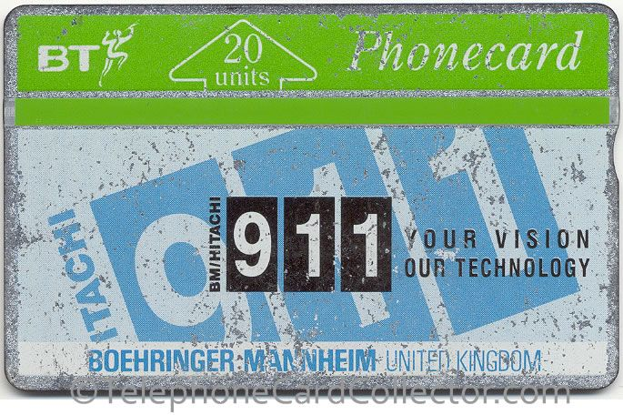 """""""I have had a Boehringer Mannhein card, (Hitachi 911) 1991 issue. Used. It has been in my wallet all that time so is quite rubbed but legible. It was given to my husband when they got a new Hitachi in the lab!"""" Really nice to hear the stories behind the cards."""