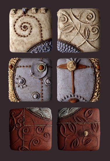 """Christopher Gryder Tiles -- """"Voulez Vous"""" Ceramic Wall Art created by Christopher Gryder. Ceramic wall tiles formed by carving a dissolvable mold from silt, casting clay within, and excavating several days later. Glazed with colored clays."""