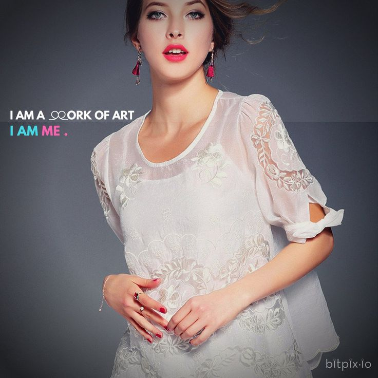 I Am A Work Of Art Embroidered Mesh Top