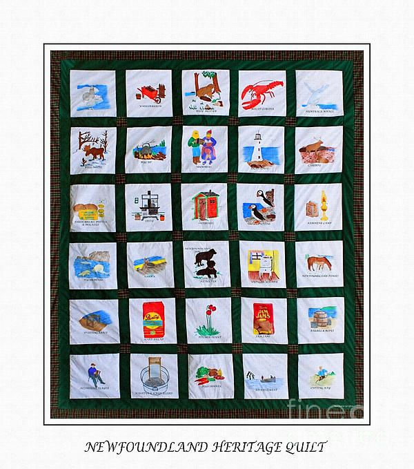A photographic image of a real Newfoundland Heritage Quilt. The fabric quilt contains 30 hand-painted scenes on white fabric, joined together with green fabric and surrounded by Newfoundland Tartan plaid.