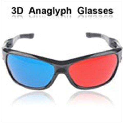 Stylish Red+ Blue/ Cyan Acrylic 3D 3 Dimensional Movie DVD Anaglyph Glasses for Shrek 3D Spy Kids 3D The Polar Express