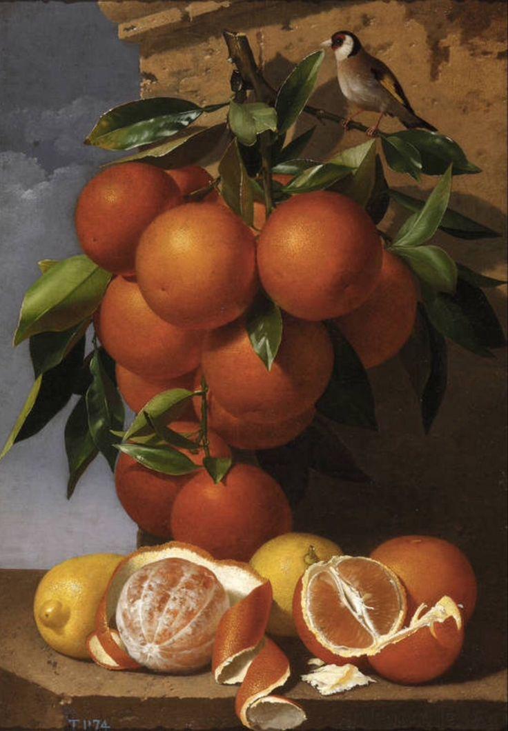Antonio Mensaque y Alvarado (1825-1900) —  Still Life of Oranges  (1280×1845):