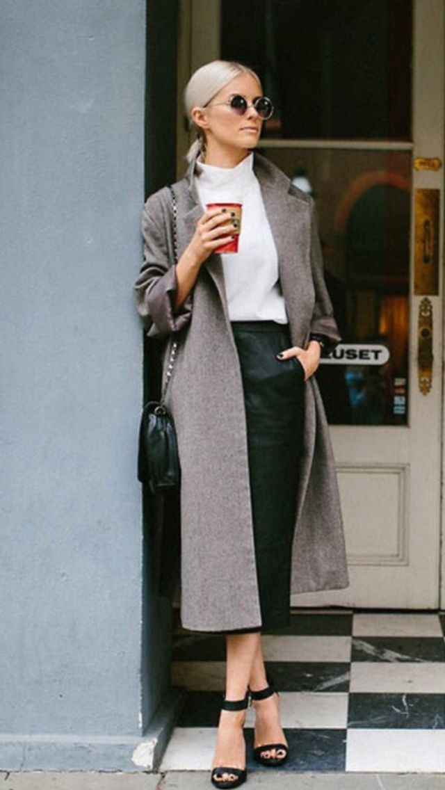 Long coat with long skirt for autumn. Love the colors.
