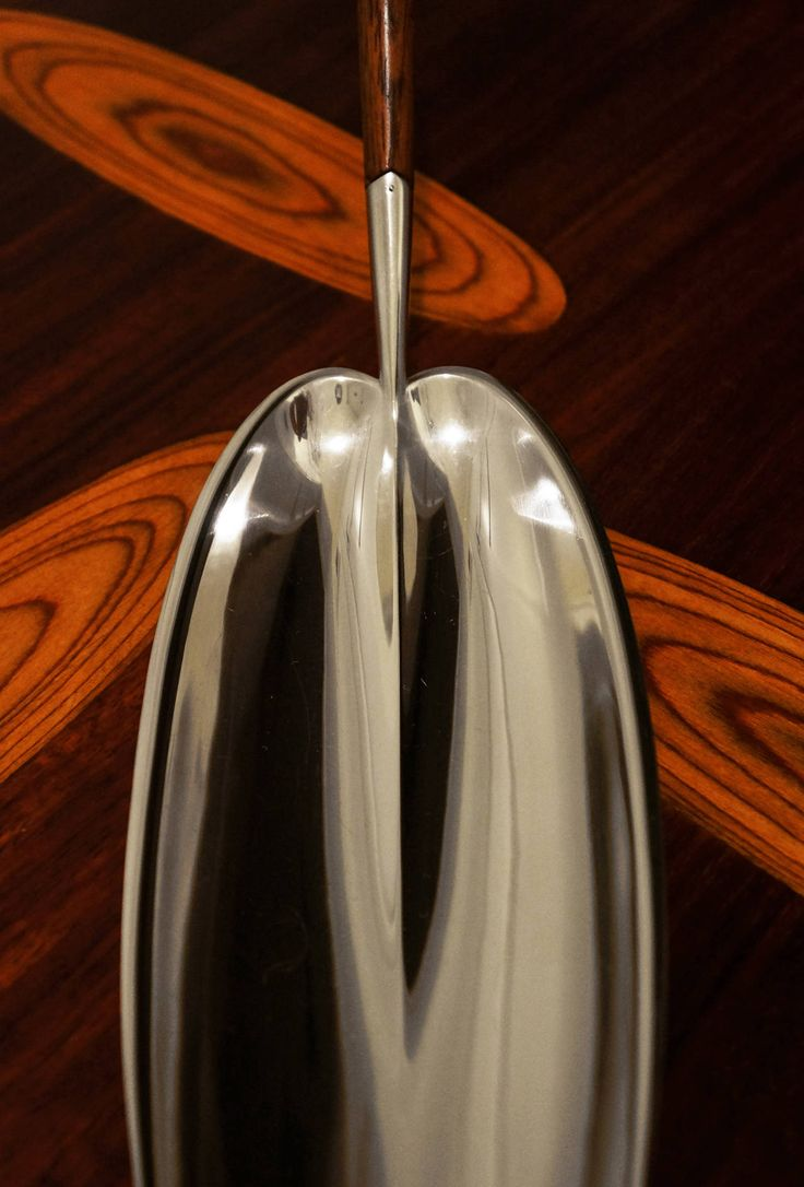 TAPIO WIRKKALA, Long Leaf silver dish, model TW85. Designed in early 1950s and manufactured by Kultakeskus Oy, Finland. Material sterling silver and rosewood.