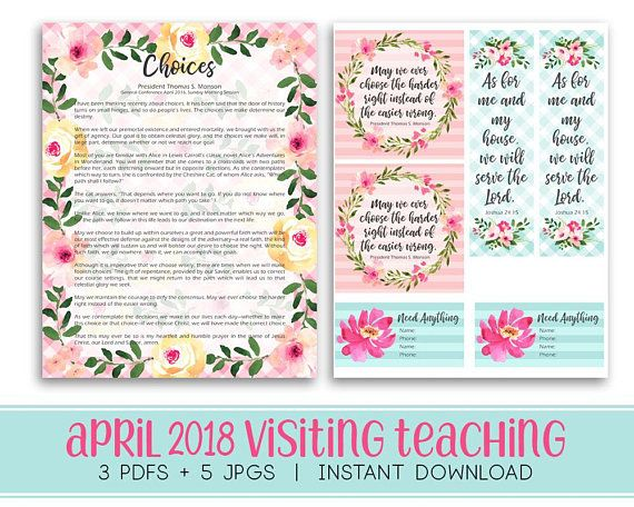 April 2018 Visiting Teaching kit Relief society Message
