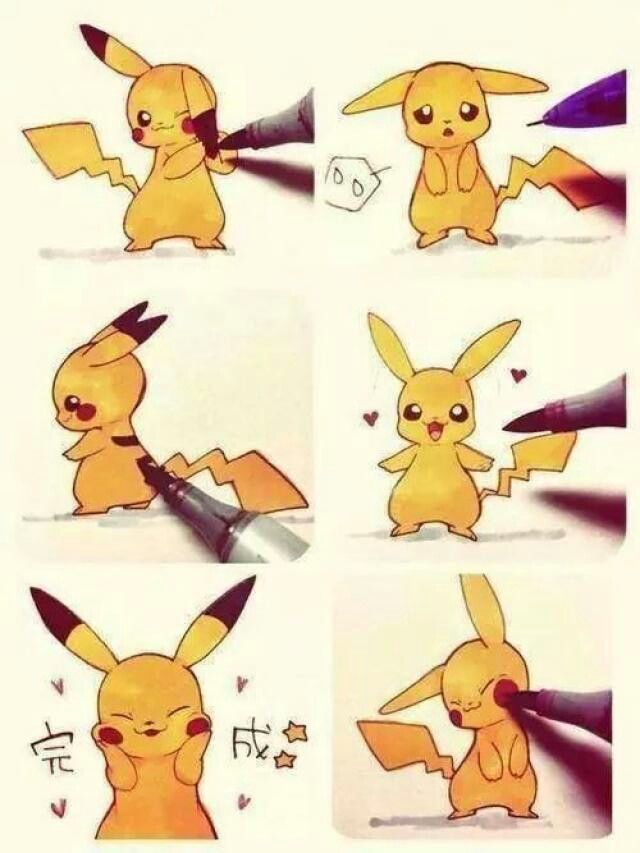 Pikachu gets some colour! Reading direction: First right top till right bottom, then left top till left botttom.