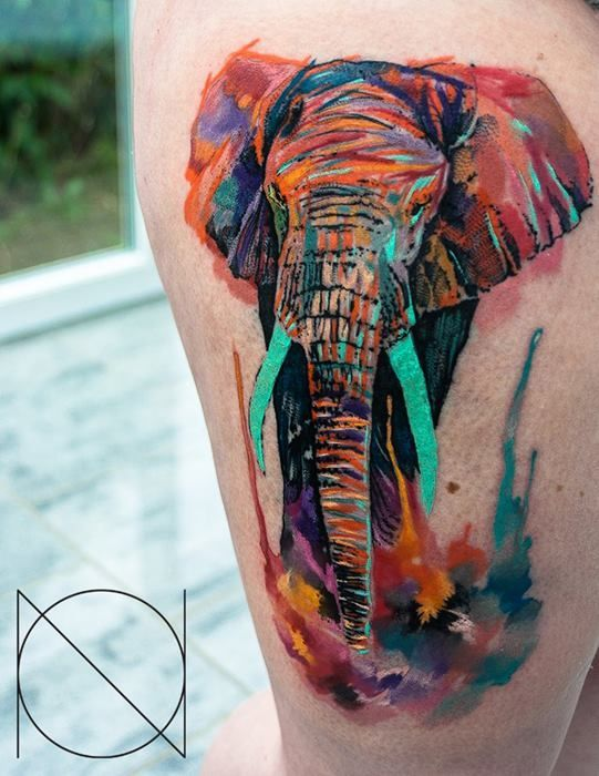 Colorful elephant tattoo idea