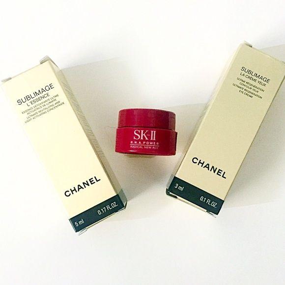 Chanel, Sk-II Chanel skincare and Sk-II skincare. Chanel Sublimage L'essence 5 mL and Chanel Sublimage La creme Yeux 3 mL. Sk-II R.N.A power 2.5 mL. Sephora Makeup