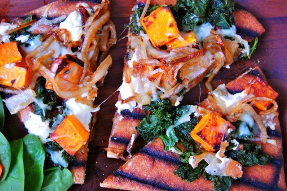 Caramelized Onion, Butternut Squash and Goat Cheese Grilled Pizza