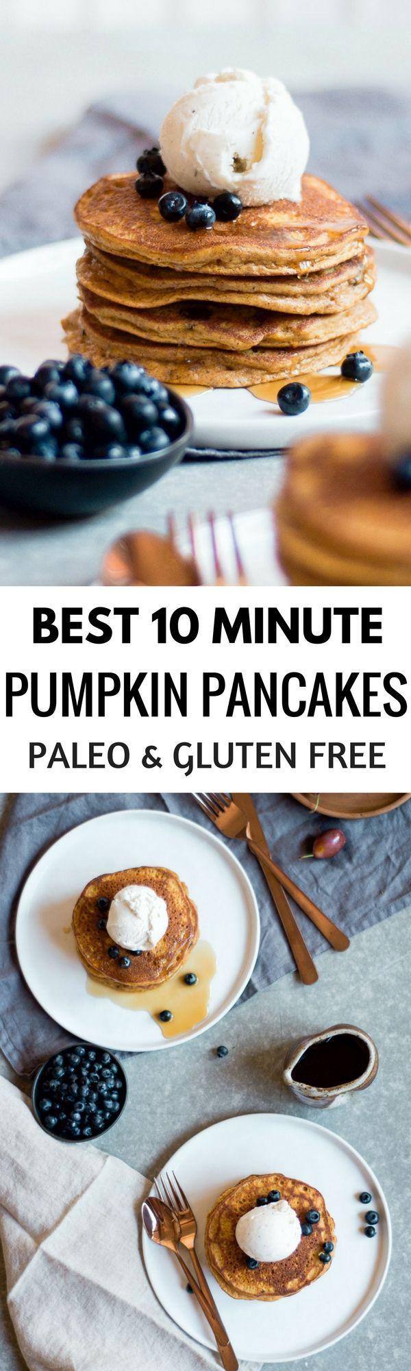 Best Paleo Pumpkin Pancakes Made In Only 10 Minutes! Easy Healthy Breakfast Recipe. Best Gluten Free Pumpkin Recipes. Beautiful Food Photography.