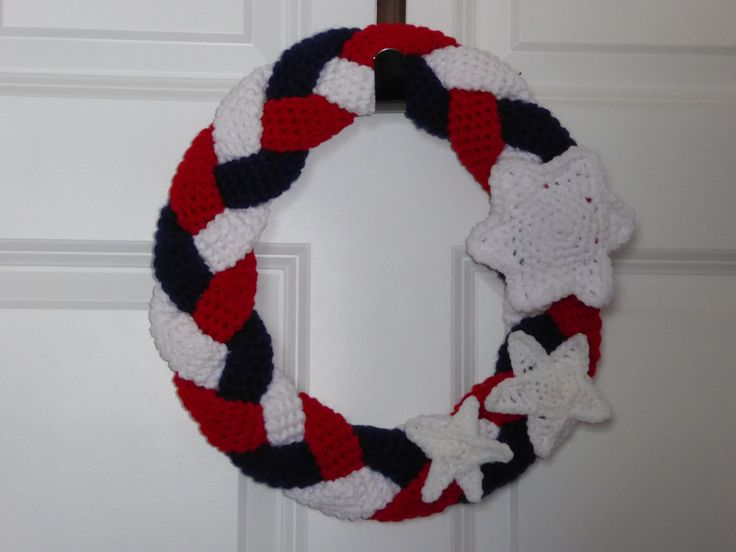 Patriotic Wreath, Patriotic Crochet Wreath, Braided Crochet Wreath, USA wreath, Memorial Day Wreath, Fourth of July Wreath, Summer Wreath by AlexsGiftShop on Etsy