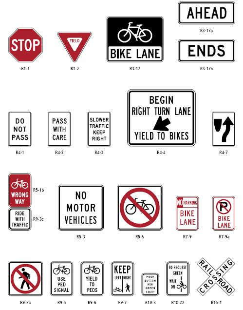 Regulatory signs for bicycle facilities.