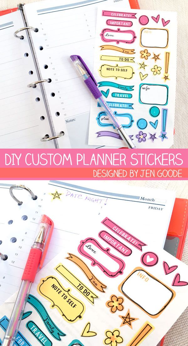 DIY Custom Planner Stickers - a new Print then Cut project designed by Jen Goode. Customize the text and colors of these fun die cut stickers you can make with your Cricut!