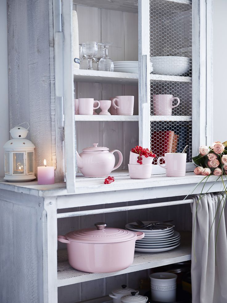 le creuset chiffon pink kitchen in 2020 kitchen decor colorful kitchen decor home kitchens on kitchen decor pink id=78310