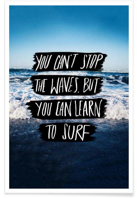 Learn to Surf als Premium Poster von Leah Flores   JUNIQE