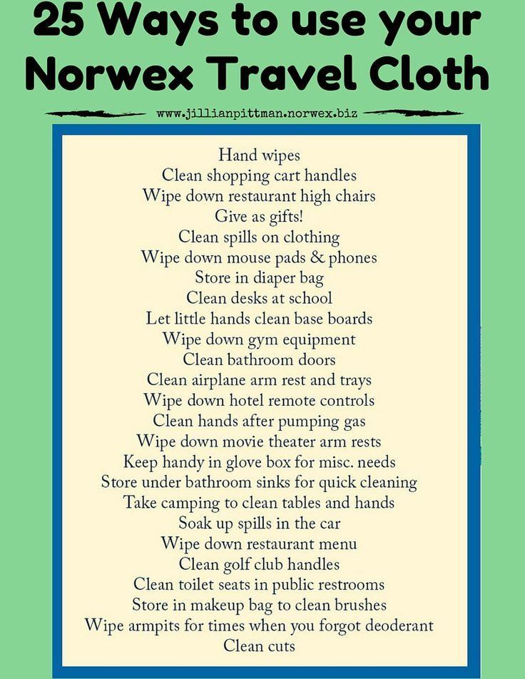 25 ways to use your Norwex Travel Enviro Cloth!
