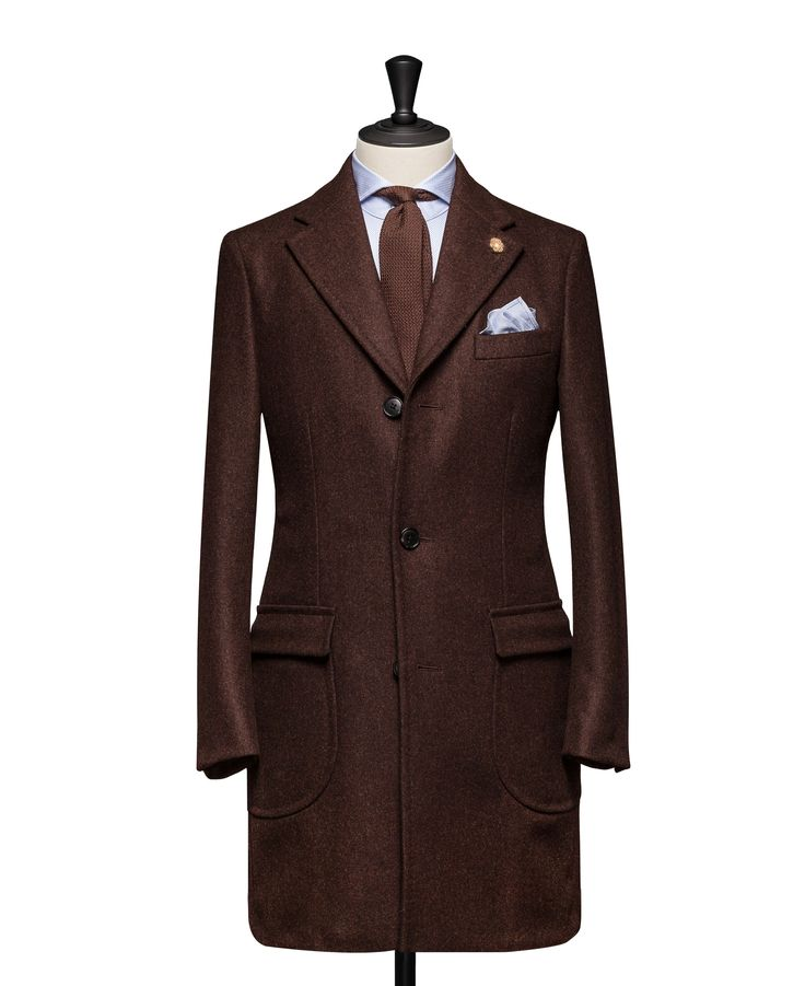 Tailored Coat – Fabric OCS0041 Plain Brown Cloth weight: 560g Composition: 100% Wool