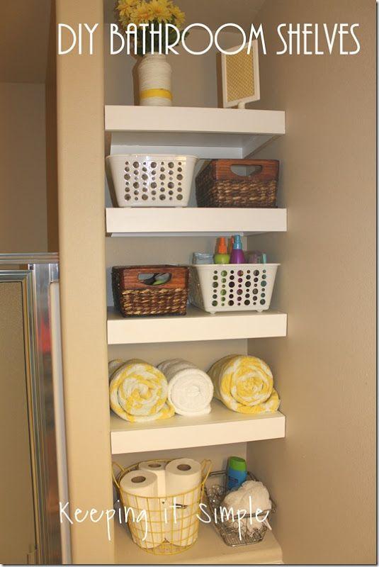 Small bathroom storage solution diy shelves super easy - Cheap storage shelves diy ...