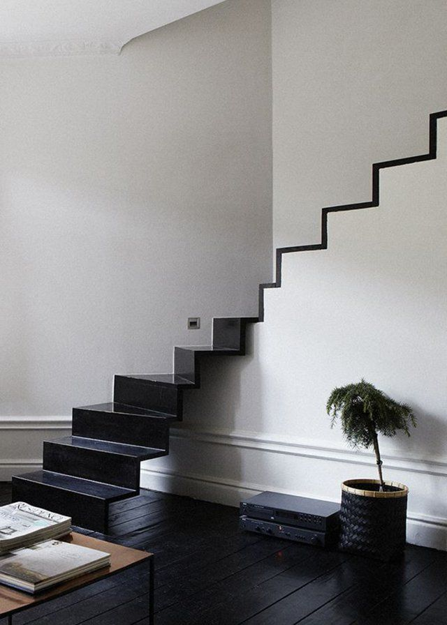 Nice And Modern Proposal For Metal Stairs. Love This Staircase, Open Lower  Part. Open To Metal Vs Wood To Match Rest Of Flood. Wide Trim Boards  Painted To ...