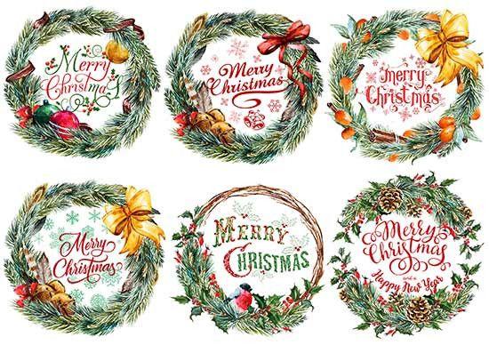 Декупажная карта А4 Зима. Новый год. Рождество. Рождественский венок.