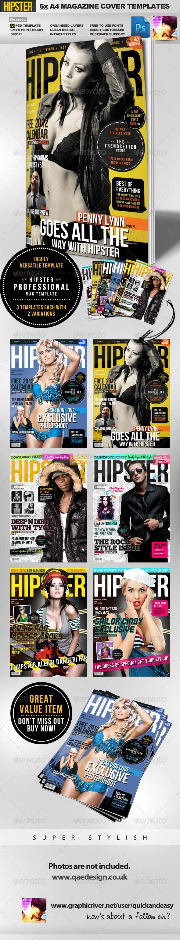 PSD  Hipster A4 Magazine Cover Templates  • Only available here ➝ http://graphicriver.net/item/hipster-a4-magazine-cover-templates/1394311?ref=pxcr