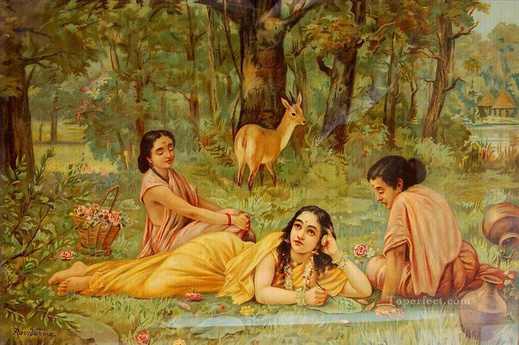 https://www.toperfect.com/pic/Oil%20Painting%20Styles%20on%20Canvas/Indian/Raja%20Ravi%20Varma/7-deer-and-Shakuntala-Raja-Ravi-Varma-Indians.jpg