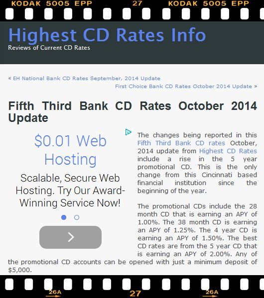 The changes being reported in this Fifth Third Bank CD rates October, 2014 update from Highest CD Rates include a rise in the 5 year promotional CD. More details at http://www.highestcdratesinfo.com/fifth-third-bank-cd-rates-october-2014-update/